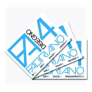 Fabriano F4, Album da Disegno, Formato 24×33 cm, Fogli lisci riquadrati, 200g/mq