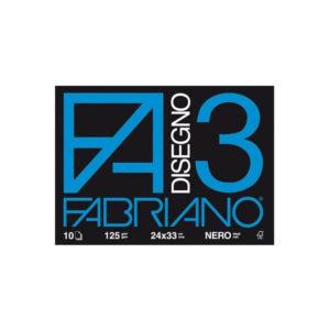 Fabriano F3, Album da Disegno, Formato 24×33 cm, Carta nera liscia 125 g/mq