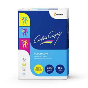 Mondi Color Copy Carta da Stampa, Formato A4, 250 g/mq, 1 Risma da 125 Fogli