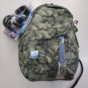 Zaino SEVEN THE DOUBLE – SPECIAL EDITION Eco material – Verde militare – Cuffie wireless – 2 zaini in 1 REVERSIBILE
